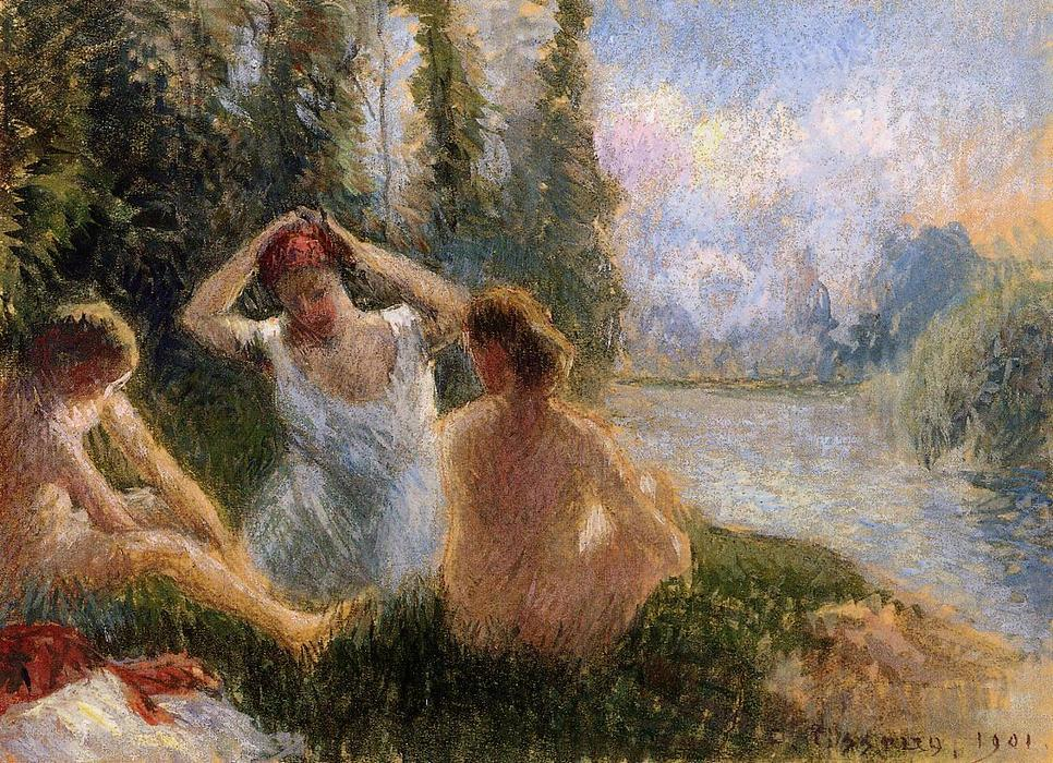 famous painting Bathers Seated on the Banks of a River of Camille Pissarro