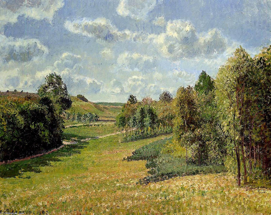 famous painting Berneval Meadows, Morning of Camille Pissarro