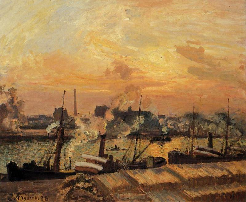 famous painting Boats, Sunset, Rouen of Camille Pissarro