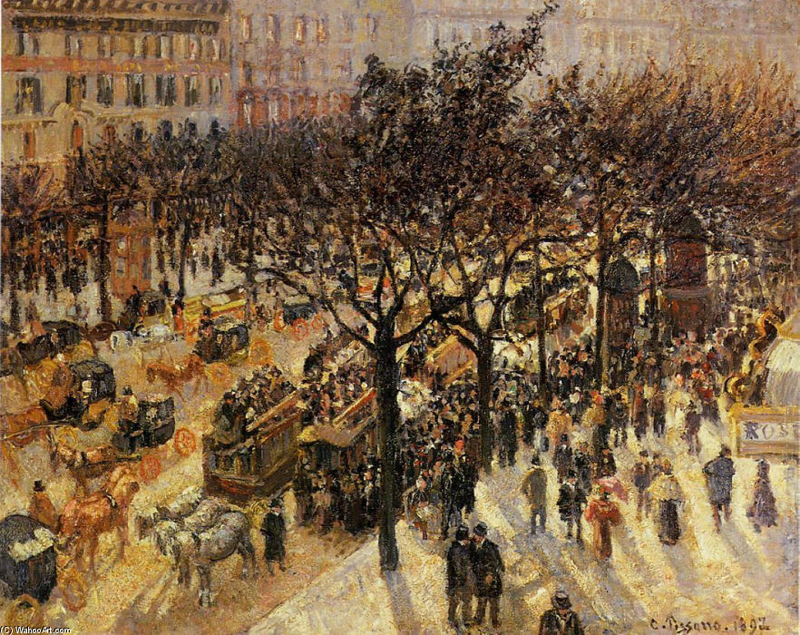 famous painting Boulevard des Italiens Afternoon of Camille Pissarro