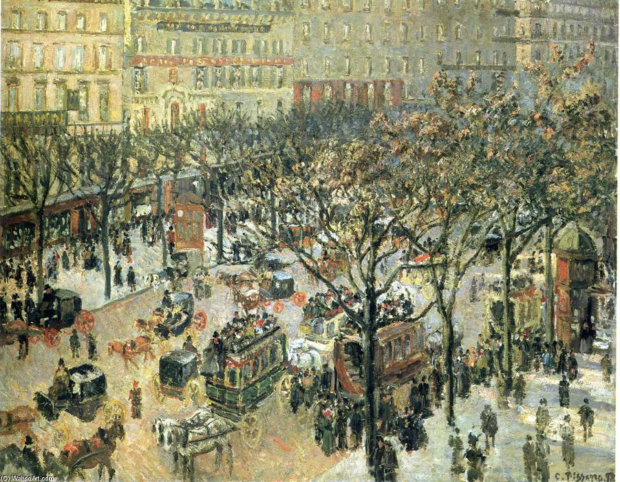 famous painting Boulevard des Italiens Morning, Sunlight of Camille Pissarro