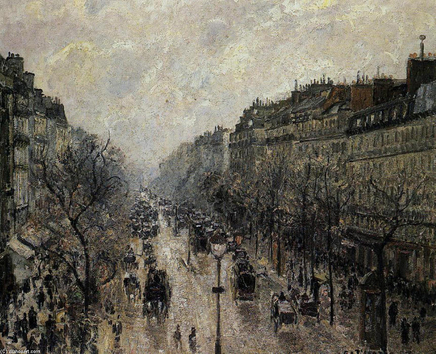 famous painting Boulevard Montmartre Foggy Morning of Camille Pissarro