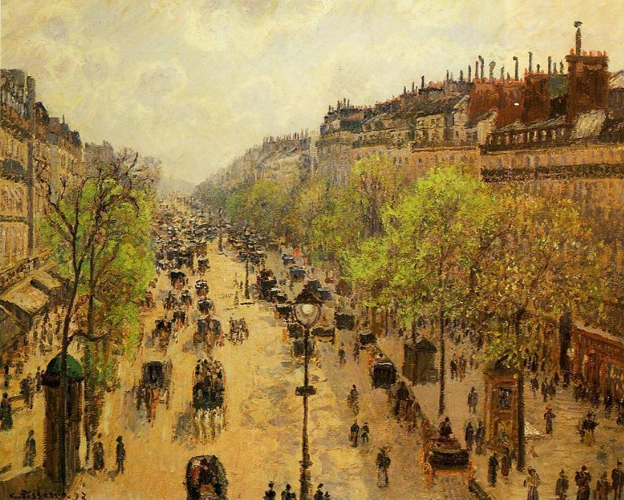 famous painting Boulevard Montmartre. Spring 1 of Camille Pissarro