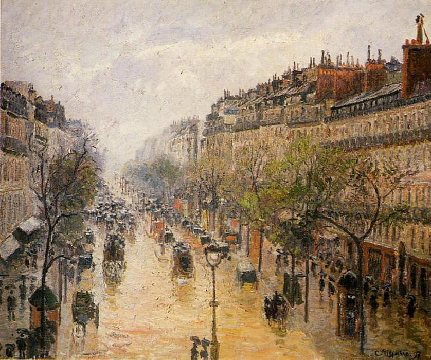 famous painting Boulevard Montmartre Spring Rain of Camille Pissarro