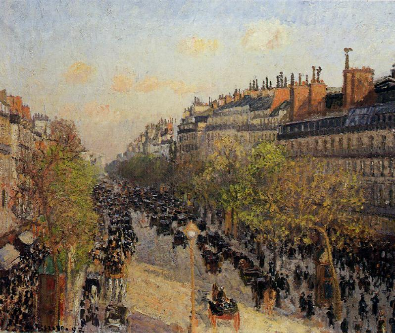 famous painting Boulevard Montmartre, Sunset of Camille Pissarro