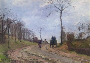 Camille Pissarro - Carriage on a Road in Louveciennes in Winter