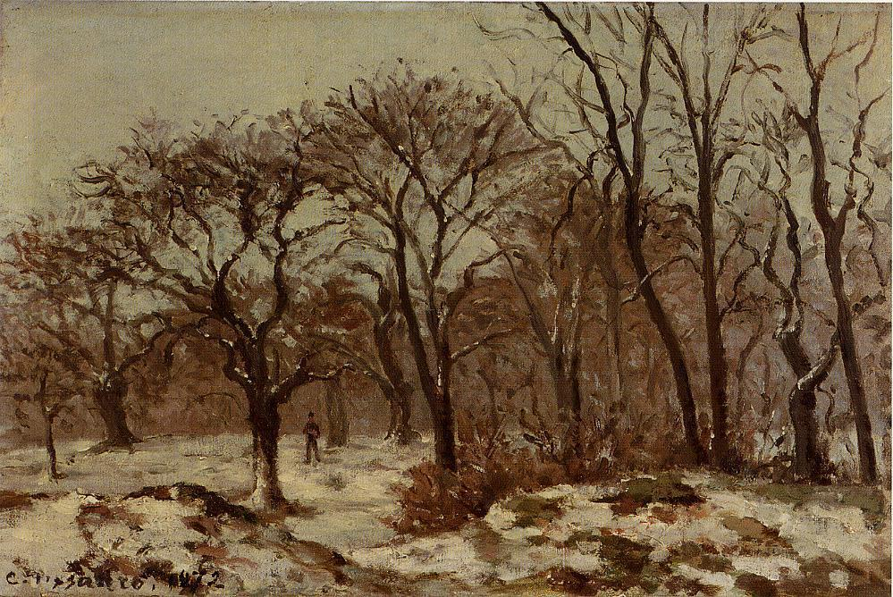 famous painting Chestnut Orchard in Winter of Camille Pissarro