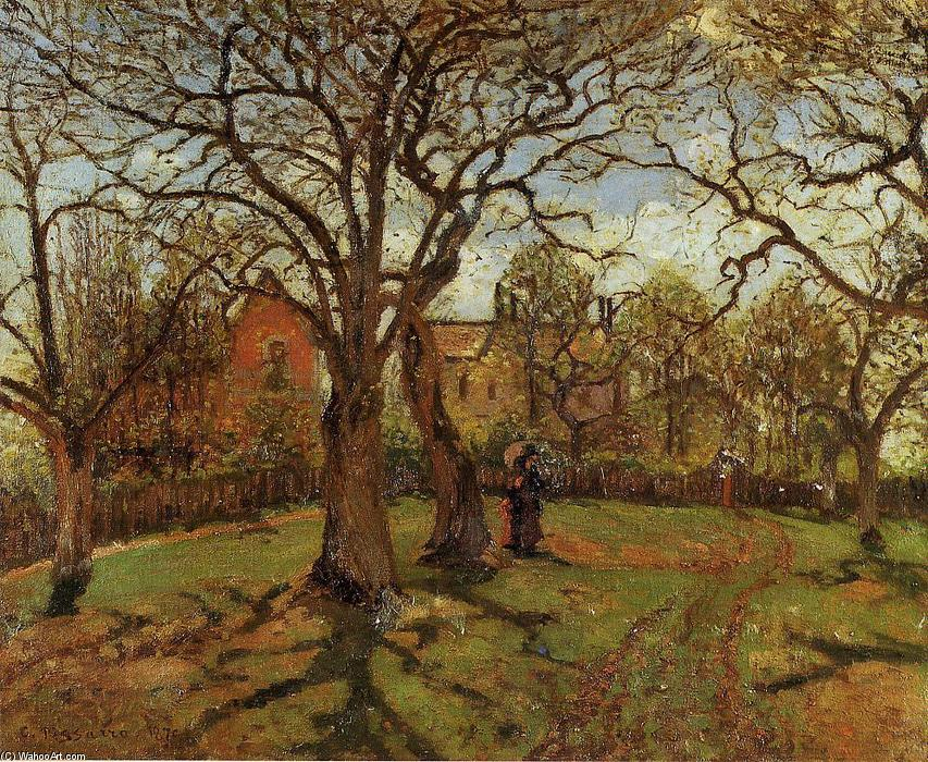 famous painting Chestnut Trees, Louveciennes, Spring of Camille Pissarro