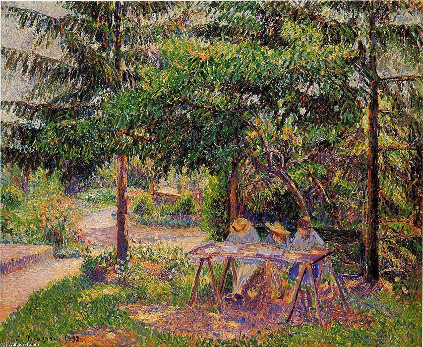 famous painting Children in a Garden at Eragny of Camille Pissarro