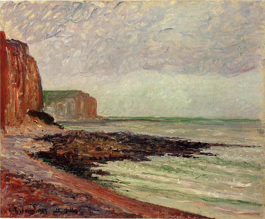 famous painting Cliffs at Petit Dalles of Camille Pissarro
