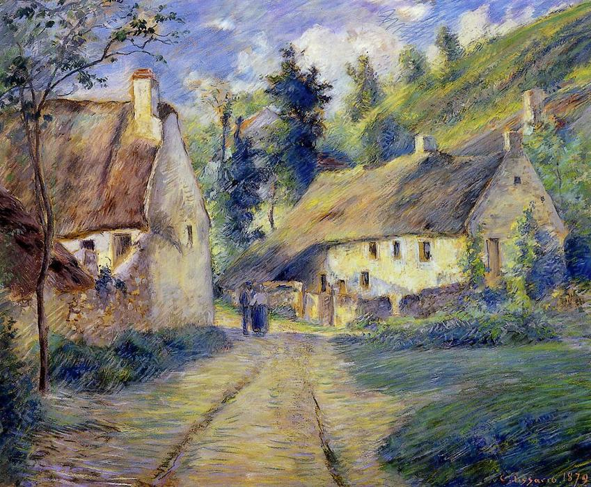 famous painting Cottages at Auvers, near Pontoise of Camille Pissarro