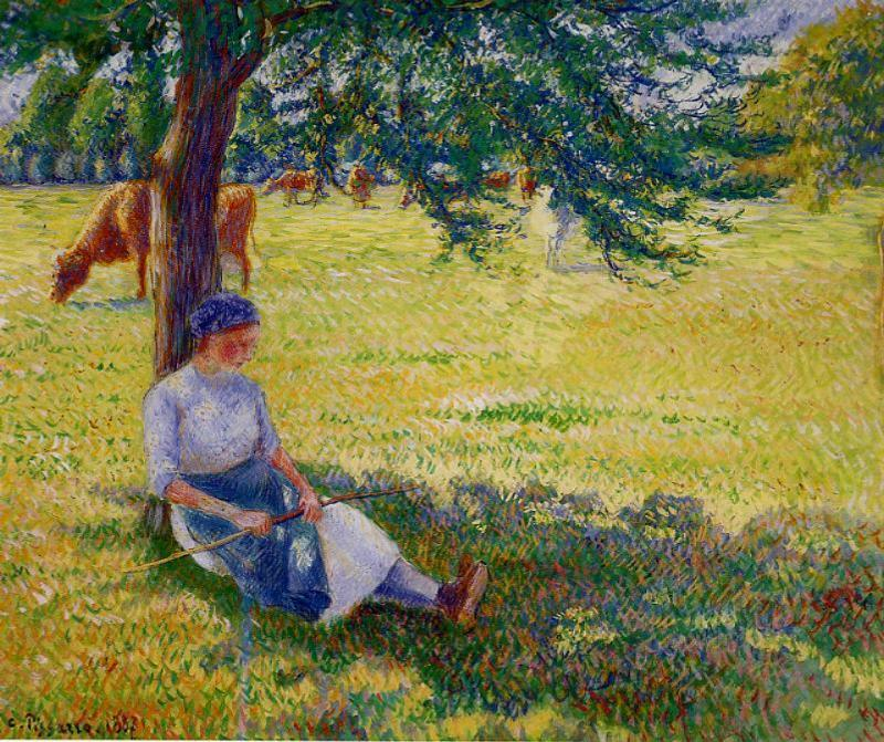 famous painting Cowgirl, Eragny of Camille Pissarro