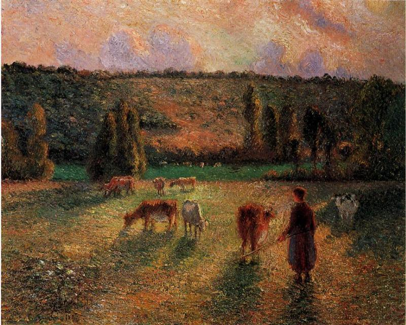 famous painting Cowherd at Eragny of Camille Pissarro