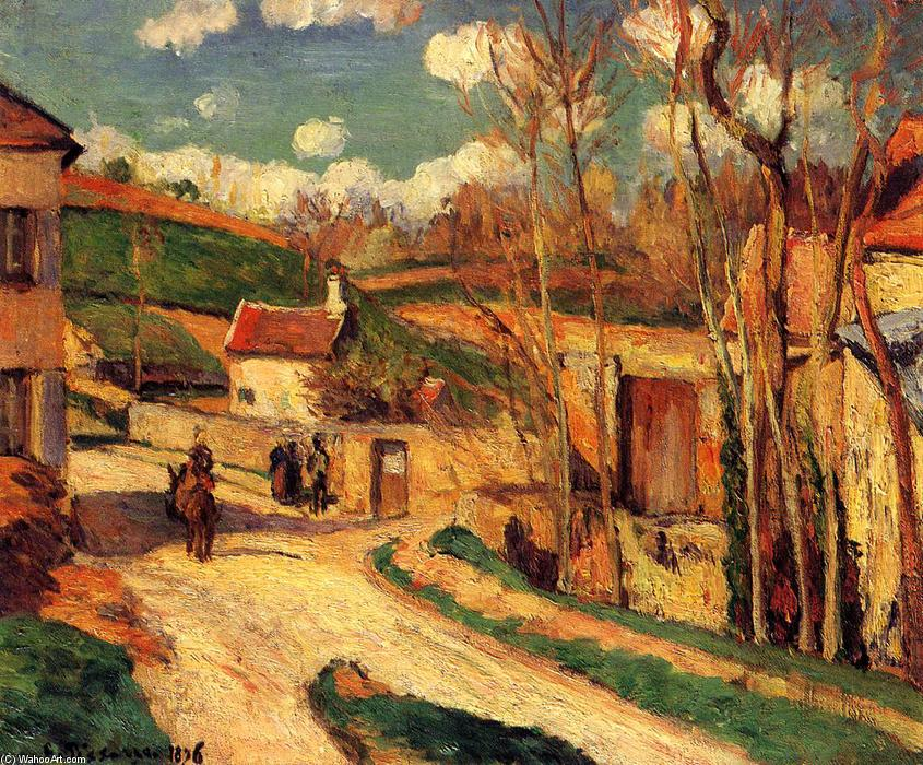 famous painting Crossroads at l'Hermitage, Pontoise of Camille Pissarro