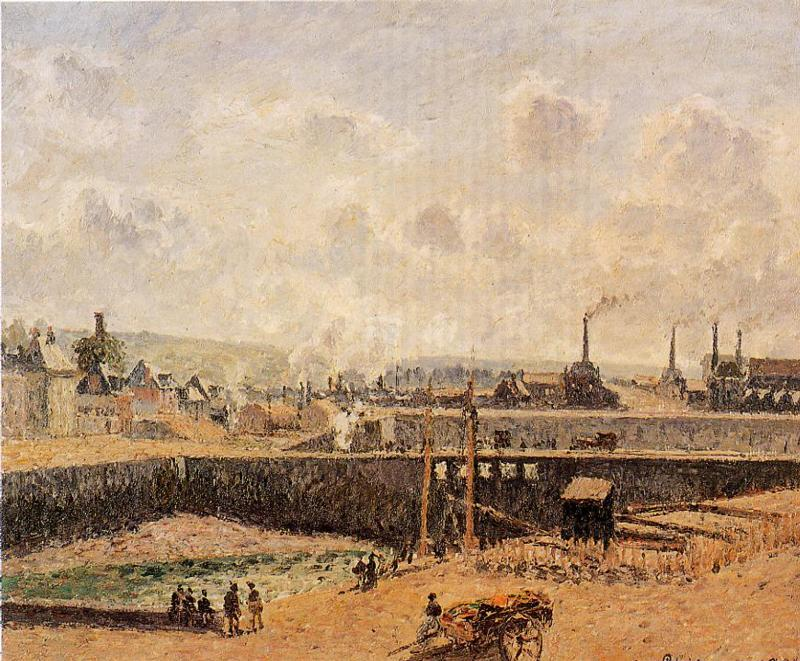 famous painting Dieppe, Dunquesne Basin, Low Tide, Sun, Morning of Camille Pissarro