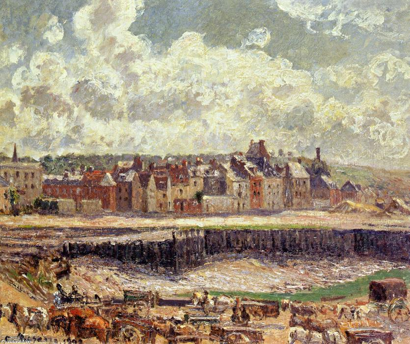 famous painting Dieppe, Dunquesne Basin, Sunlight Effect, Morning, Low Tide of Camille Pissarro