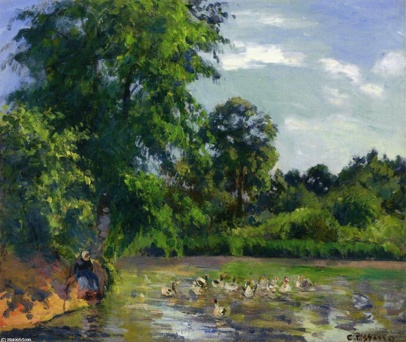 famous painting Ducks on the Pond at Montfoucault of Camille Pissarro