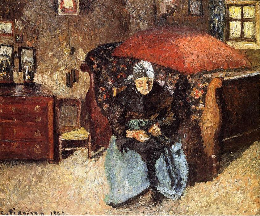 famous painting Elderly Woman Mending Old Clothes, Moret of Camille Pissarro
