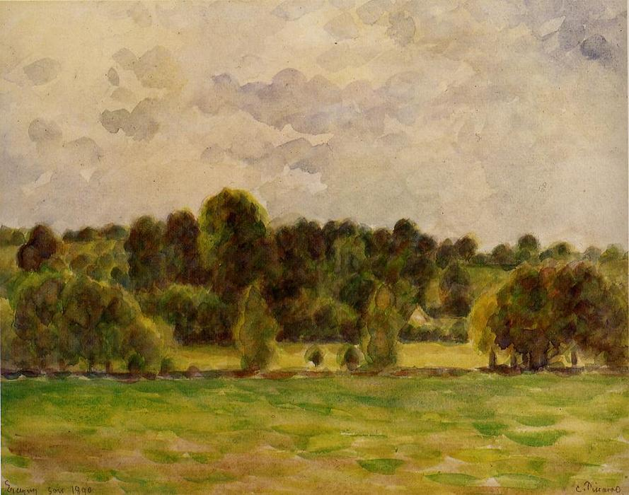famous painting Eragny, Twilight of Camille Pissarro