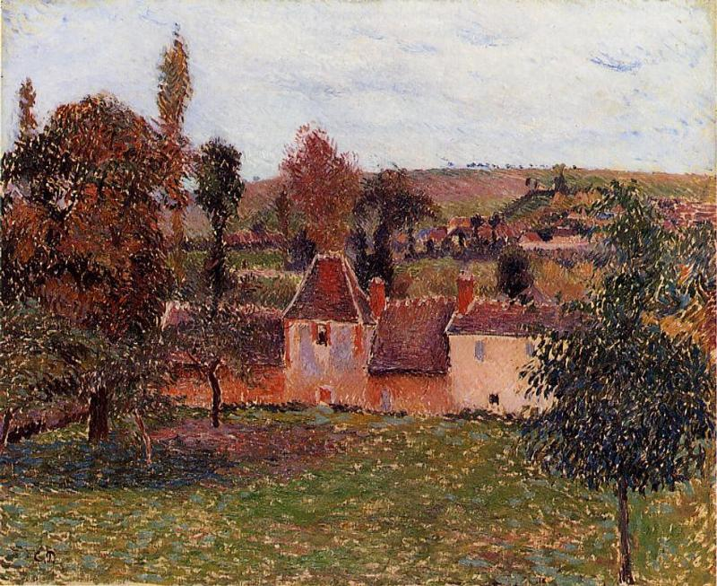 famous painting Farm at Basincourt of Camille Pissarro