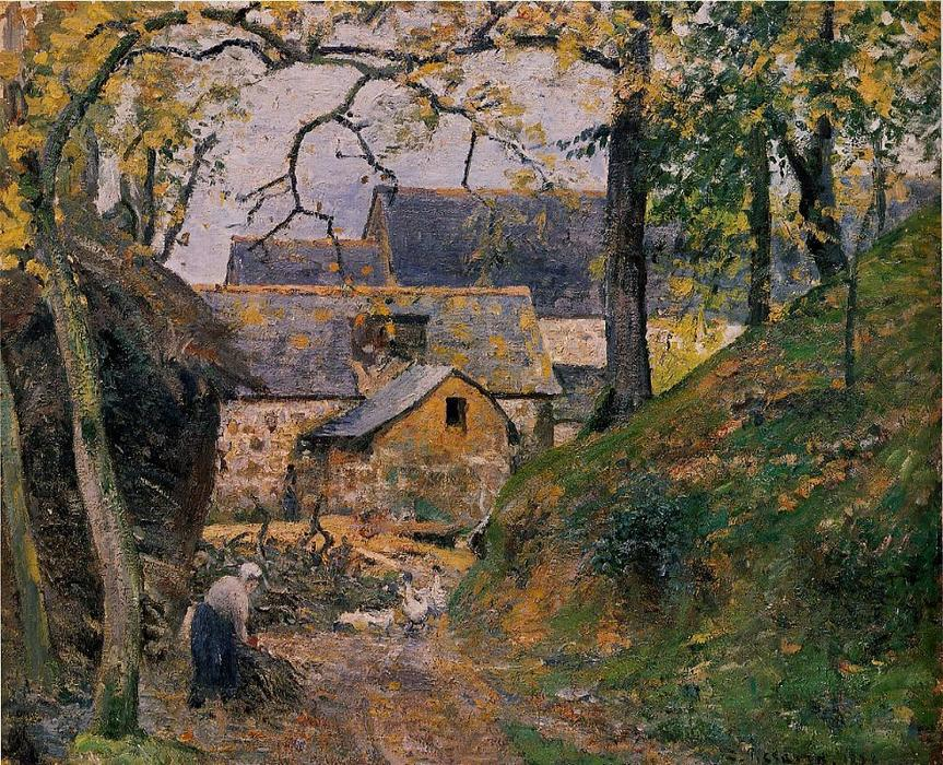 famous painting Farm at Montfoucault of Camille Pissarro