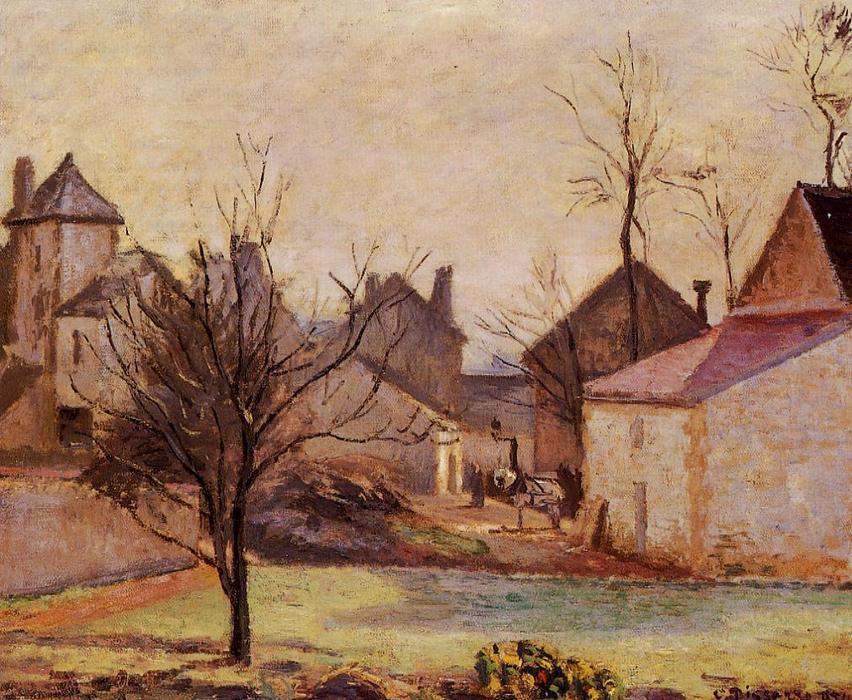 famous painting Farmyard in Pontoise of Camille Pissarro