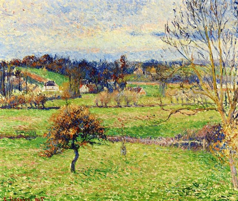 famous painting Field at Eragny of Camille Pissarro