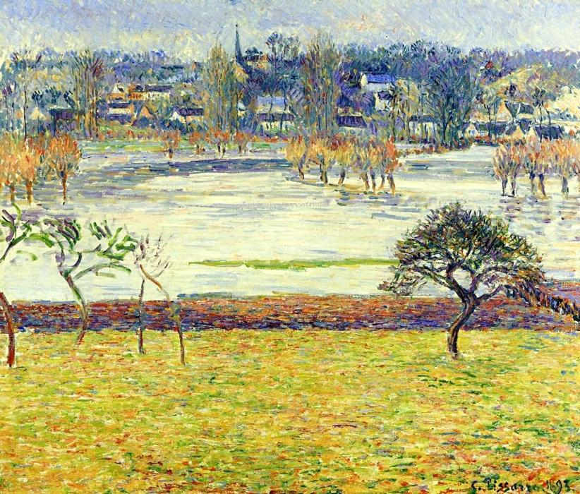 famous painting Flood, White Effect, Eragny of Camille Pissarro