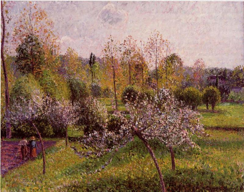 famous painting Flowering Apple Trees, Eragny of Camille Pissarro