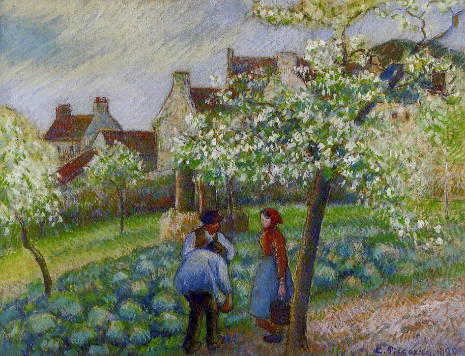 famous painting Flowering Plum Trees of Camille Pissarro