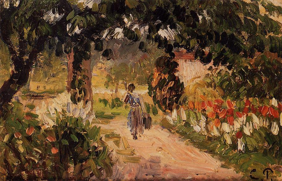 famous painting Garden at Eragny of Camille Pissarro