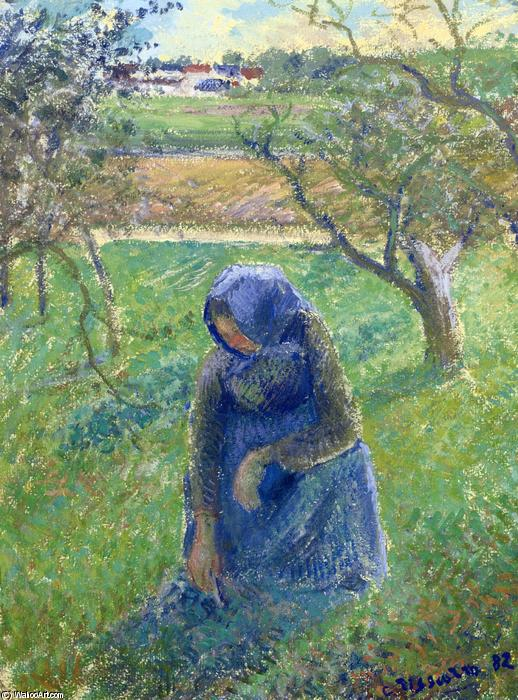 famous painting Gathering Herbs of Camille Pissarro