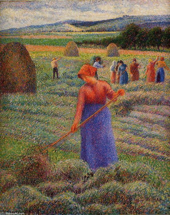 famous painting Haymakers at Eragny of Camille Pissarro