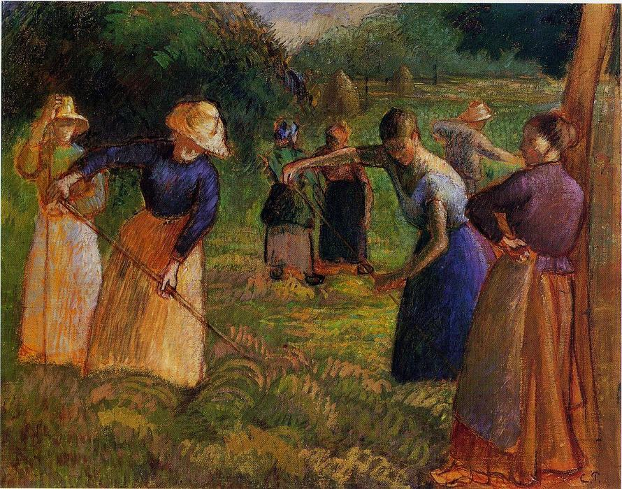 famous painting Haymaking in Eragny of Camille Pissarro