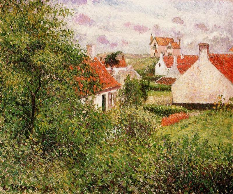 famous painting Houses at Knocke, Belgium of Camille Pissarro