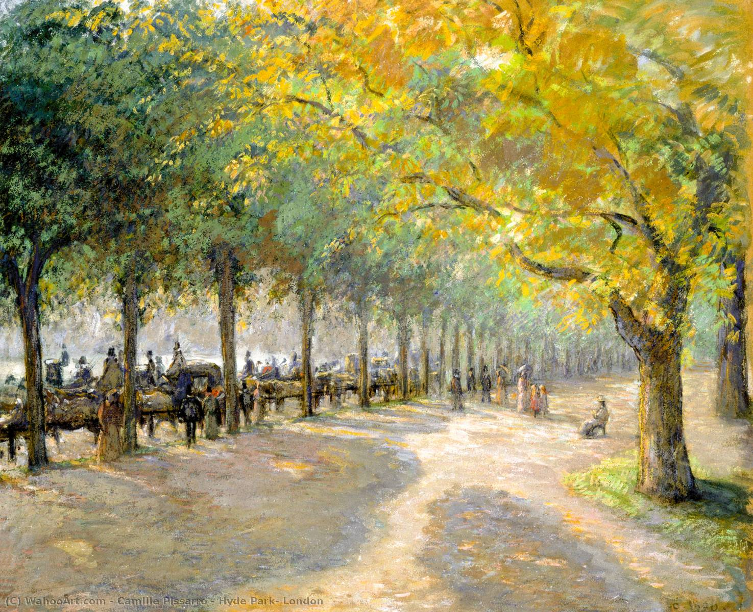 famous painting Hyde Park, London of Camille Pissarro