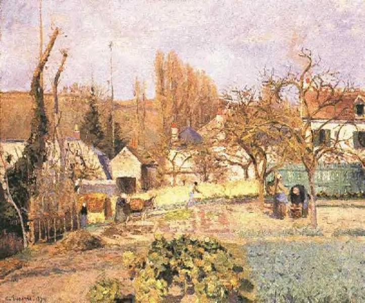 famous painting Kitchen Garden at the Hermitage, Pontoise of Camille Pissarro