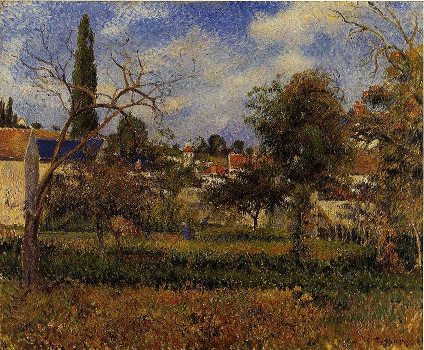 famous painting Kitchen Gardens, Pontoise of Camille Pissarro