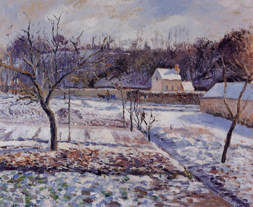 famous painting L'Hermitage, Pontoise Snow Effect of Camille Pissarro