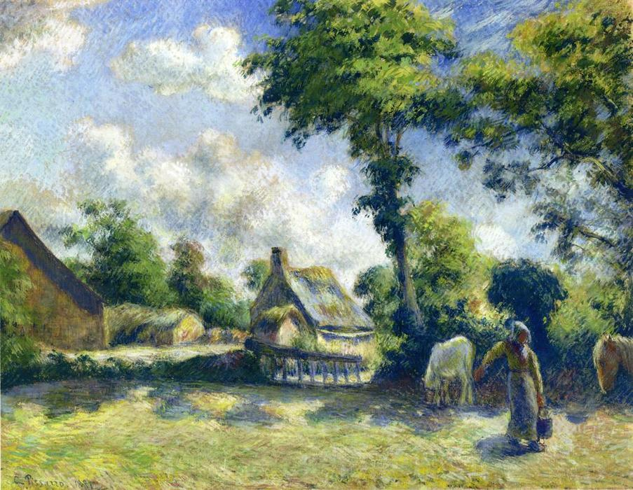 famous painting Landscape at Melleray, Woman Carrying Water to Horses of Camille Pissarro