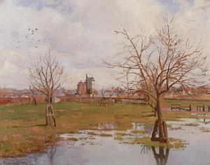 Camille Pissarro - Landscape with Flooded Fields