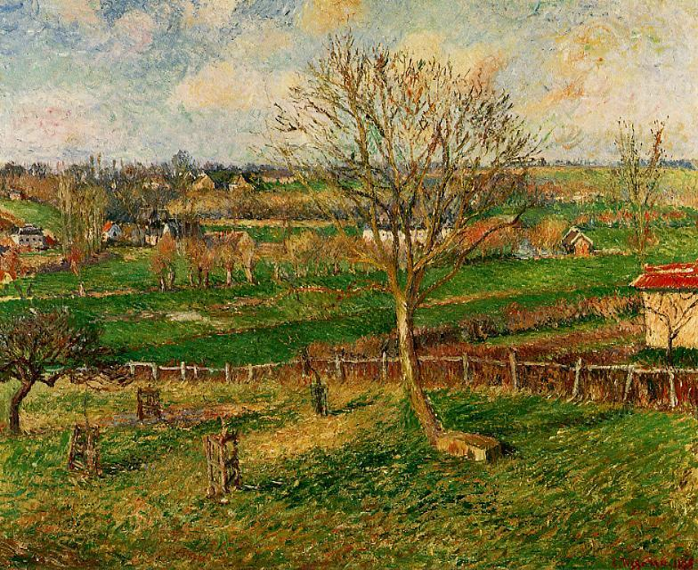 famous painting Landscape, Fields, Eragny of Camille Pissarro