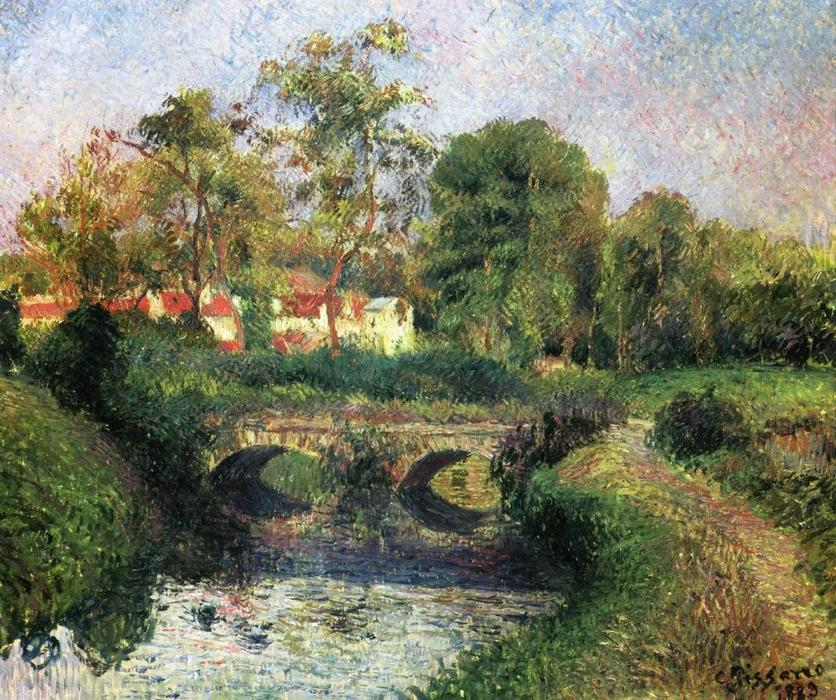 famous painting Little Bridge on the Voisne, Osny of Camille Pissarro