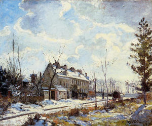 Camille Pissarro - Louveciennes Road Snow Effect