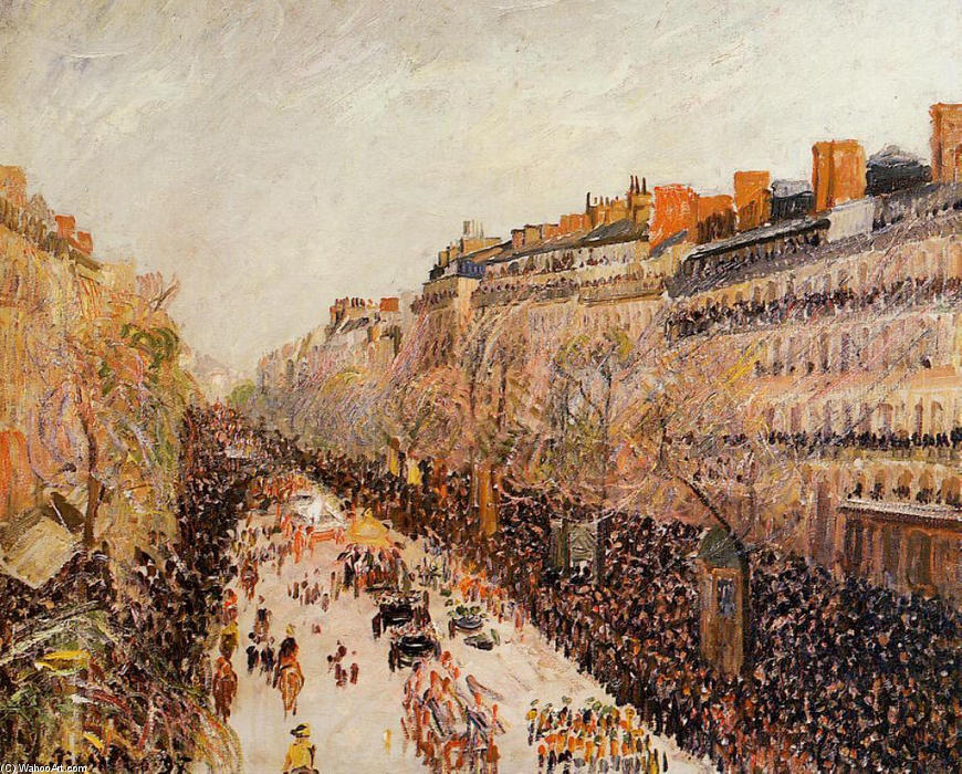 famous painting Mardi Gras on the Boulevards of Camille Pissarro