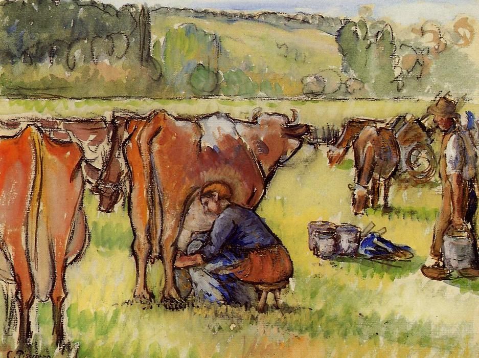 famous painting Milking Cows of Camille Pissarro