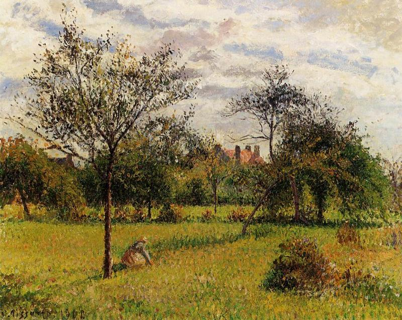 famous painting Morning, Autumn Sunlight, Eragny of Camille Pissarro