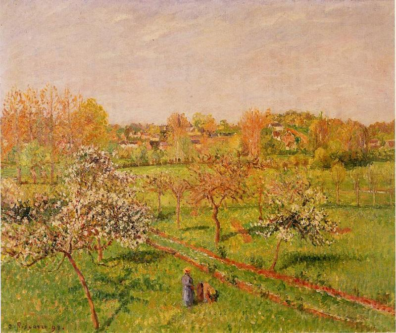 famous painting Morning, Flowering Apple Trees, Eragny of Camille Pissarro