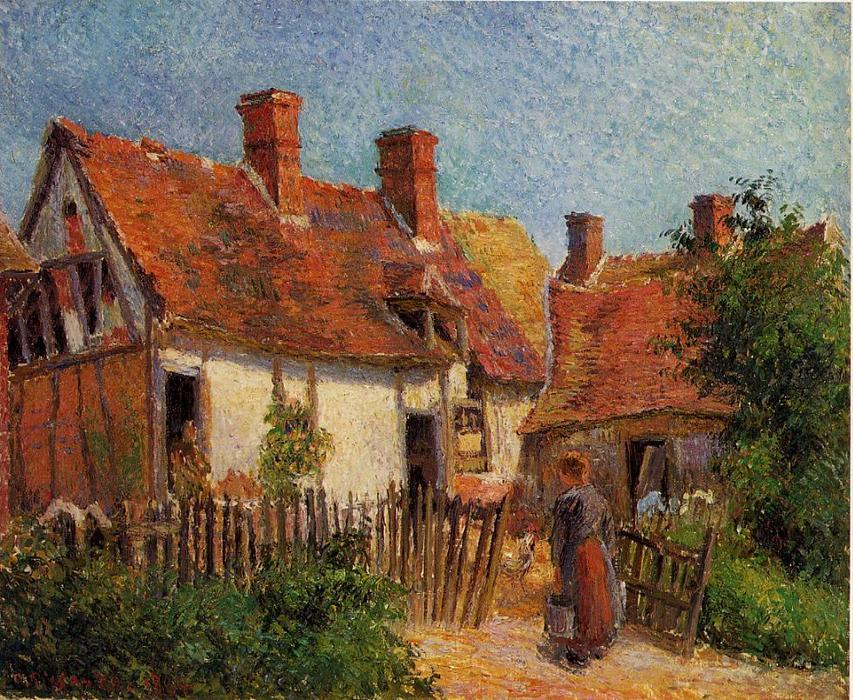 famous painting Old Houses at Eragny of Camille Pissarro