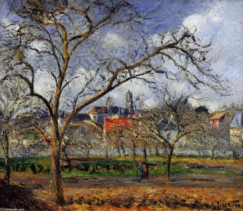 famous painting On Orchard in Pontoise in Winter of Camille Pissarro